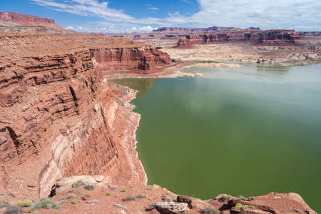 gunsight: Hite Marina on Colorado River in Glen Canyon National Recreation Area Stock Photo