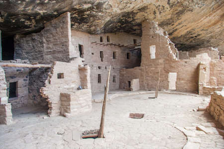 Cliff Palace, ancient puebloan village of houses and dwellings in Mesa Verde National Park, New Mexico, USA 版權商用圖片