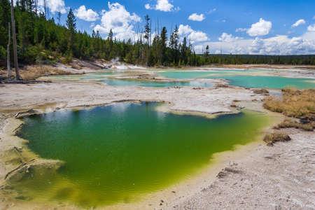 crackling: Crackling Lake at Norris Geyser Basin at Yellowstone National Park, Wyoming, USA