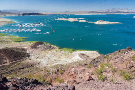 hoover dam: Lake Mead near Hoover Dam between Nevada and Arizona, USA Stock Photo