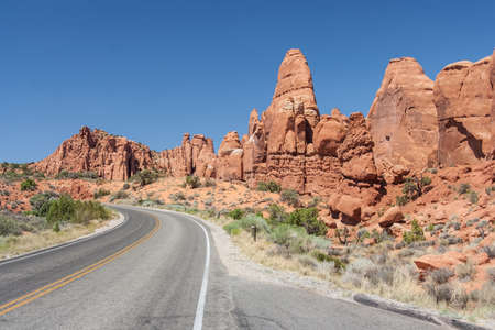 scenic highway: Scenic highway between Petrified Dunes and Fiery Furnace at Arches National Park, Utah, USA