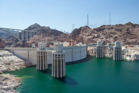 Hoover Dam also known as Boulder Dam, in the Black Canyon of the Colorado River, on the border between Nevada and Arizona, USA