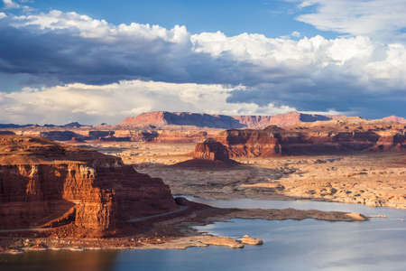 gunsight: Lake Powell and Colorado River in Glen Canyon National Recreation Area during sunset