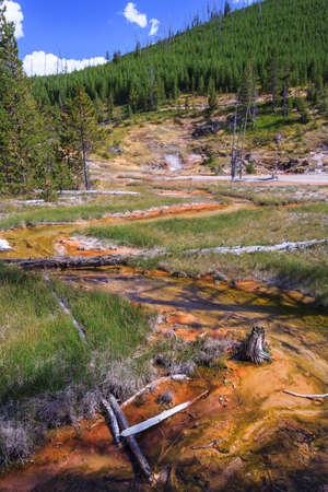 Hot Spring at Yellowstone National Park, Wyoming, USA 版權商用圖片 - 58601083