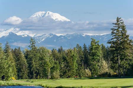 View of Mount Rainier summit, Washington, USA
