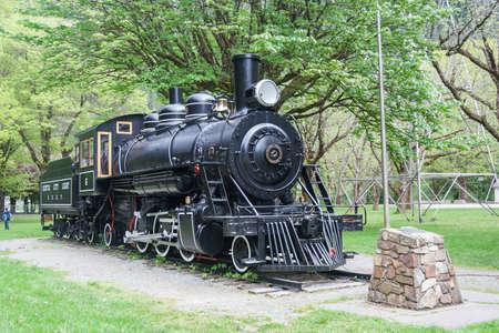 skagit: Light steam engine in Newhalem, Washington near Seattle