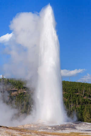 Old Faithful Geyser and Fountain at Yellowstone National Park, Wyoming, USA