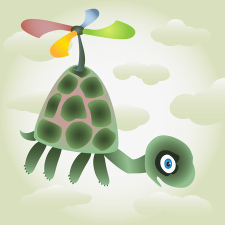 impending: Little happy turtle fly in the sky with cute coloured air screw