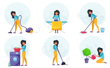 House cleaning concept. Woman doing house cleaning. Vector illustration in a flat style. Vettoriali