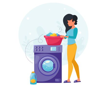 Woman washing clothes. House cleaning concept. Housewife cleaning the house. Vector illustration in a flat style.