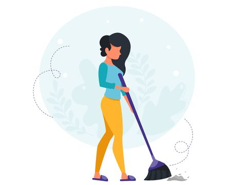Woman sweeping the floor. House cleaning concept. Housewife cleaning the house. Vector illustration in a flat style.