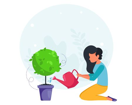 Woman watering plant. House cleaning concept. Housewife cleaning the house. Vector illustration in a flat style.