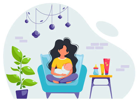Breastfeeding concept. Woman feeding a baby with breast, sitting on armchair. World breastfeeding day. Vector illustration in flat style.