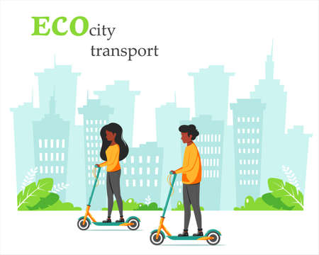 Eco city transport. Black man and black woman riding kick scooter. City background. Vector illustration in flat style.