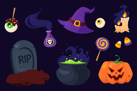 Happy Halloween. Set of Halloween symbols: pot, witch hat, potion, sweets, candles, grave, eye. Vector illustration in flat style.