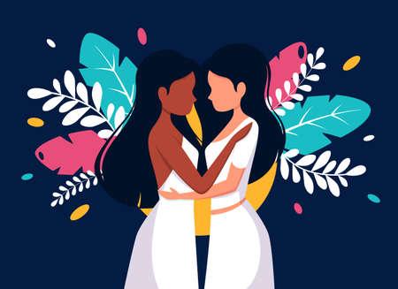 LGBT concept. Lesbian wedding. Lesbian couple. Vector illustration in flat style.