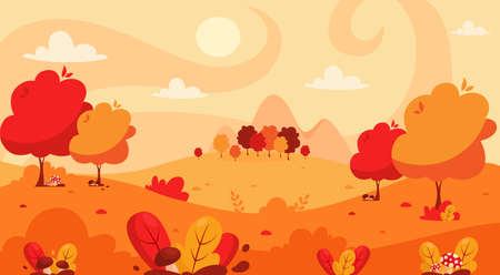 Autumn landscape with trees, mountains, fields, leaves. Countryside landscape. Autumn background. Иллюстрация