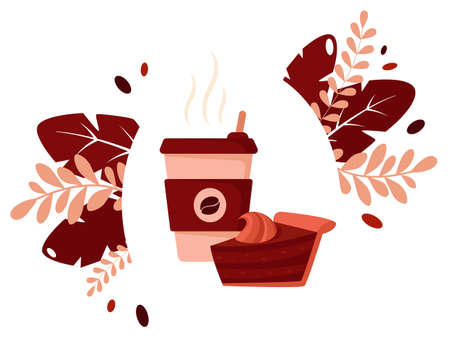 International coffee day. Cup of coffee with chocolate cake. Vector illustration in flat style.