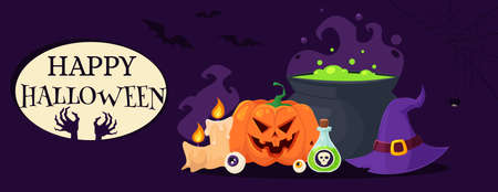 Happy Halloween greeting card with pumpkin, bowler hat, potion, witch hat, eye, candles. Vector illustration in flat style. Illusztráció