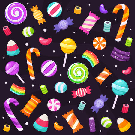 Set of halloween sweets and candies. Vector illustration in flat style.