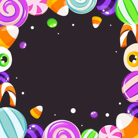 Halloween sweets frame. Halloween background. Vector illustration in flat style.