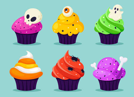 Happy Halloween. Creepy cupcakes with eye, spider, ghost. Vector illustration in flat style. Vettoriali