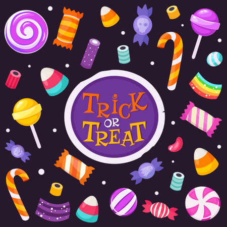 Trick or treat. Set of halloween sweets and candies. Vector illustration in flat style.