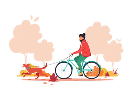 Man riding bike with dog in autumn park. Healthy lifestyle, outdoor activity concept. Vector illustration.
