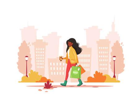 Black woman shopping in the city with coffee. Urban lifestyle. Vector illustration. Illusztráció