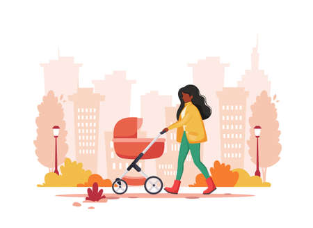 Black woman walking with baby carriage in autumn. Outdoor activity. Vector illustration.