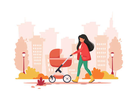 Woman walking with baby carriage in autumn. Outdoor activity. Vector illustration. Ilustração
