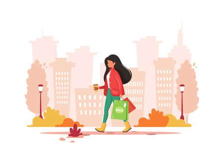 Woman shopping in the city with coffee. Urban lifestyle. Vector illustration. Illusztráció