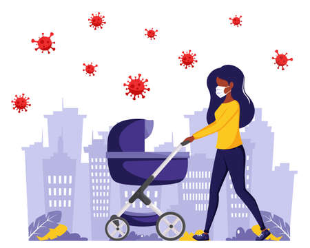 Black woman walking with baby carriage during pandemic. Black woman in face mask. Outdoor activities during pandemic. Vector illustration in flat style.