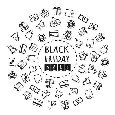 Black friday banner. Gifts and purchases icon. Vector illustration in flat style.
