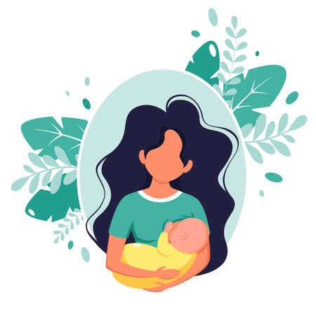 Breastfeeding concept. Woman feeding a baby with breast. World breastfeeding day. Vector illustration in flat style.