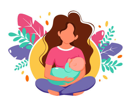 Breastfeeding concept. Woman feeding a baby with breast on leaves background. Vector illustration in flat style.