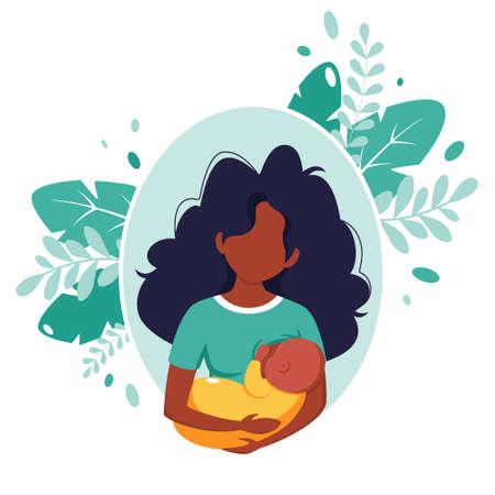 Breastfeeding concept. Black woman feeding a baby with breast. World breastfeeding day. Vector illustration in flat style. 矢量图像