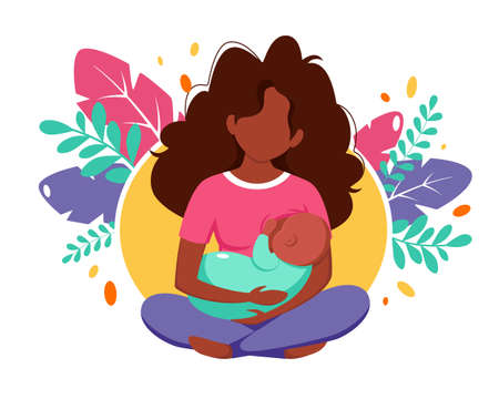 Breastfeeding concept. Black woman feeding a baby with breast on leaves background. Vector illustration in flat style. 矢量图像
