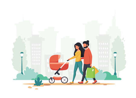 Family with baby carriage walking in the park. Outdoor activity. Vector illustration