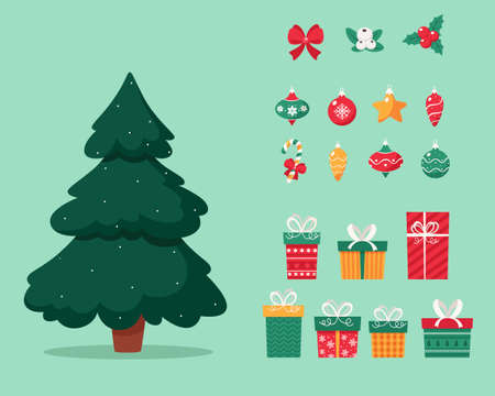 Christmas tree with toys amd presents. Merry christmas. Vector illustration. Vector Illustration