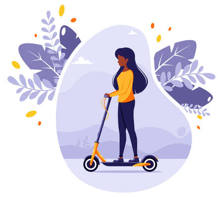 Black woman riding electric kick scooter. Modern Eco transport. Urban vehicle. Vector illustration in flat style.
