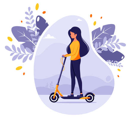 Woman riding electric kick scooter. Modern Eco transport. Urban vehicle. Vector illustration in flat style.