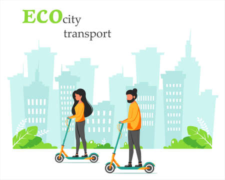 Eco city transport. Man and woman riding kick scooter. City background. Vector illustration in flat style.
