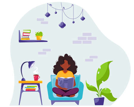 Black woman reading a book in chair. Stay home concept. Modern interior. Vector illustration in flat style.