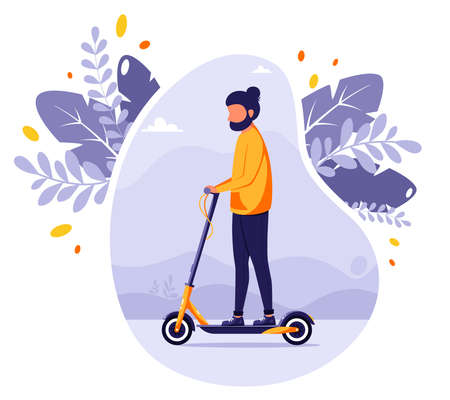 Man riding electric kick scooter. Modern Eco transport. Urban vehicle. Vector illustration in flat style.