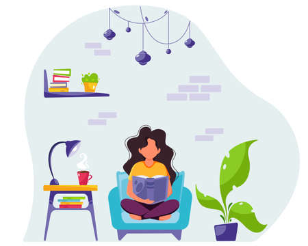 Woman reading a book in chair. Stay home concept. Modern interior. Vector illustration in flat style.