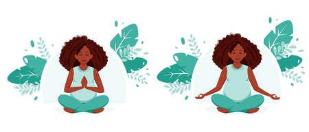Pregnant black woman doing yoga. Pregnancy health, meditation concept. Vector illustration in flat style. 矢量图像