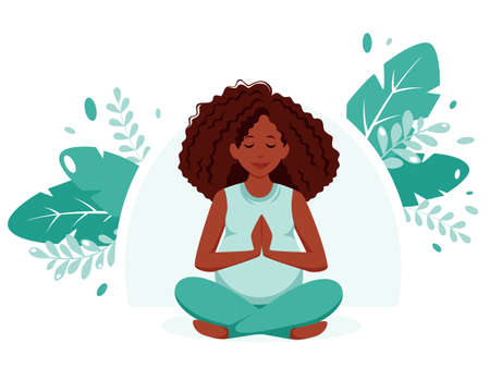 Pregnant black woman doing yoga on nature background. Pregnancy health, meditation concept. Vector illustration in flat style. 矢量图像