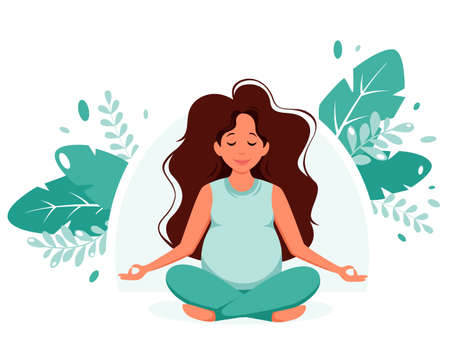 Pregnant woman doing yoga. Pregnancy health, meditation concept. Vector illustration in flat style.