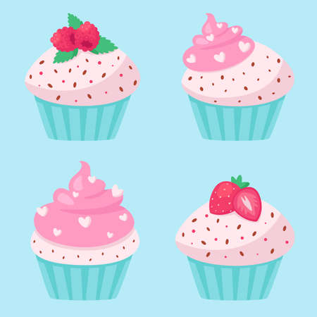 Valentine's Day cupcakes. Vector illustration